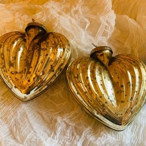 Set of Two Mercury Glass Heart Shaped Ornaments ❤️